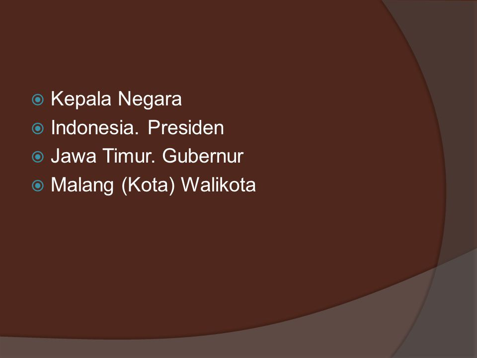 Kepala Negara Indonesia. Presiden Jawa Timur. Gubernur Malang (Kota) Walikota