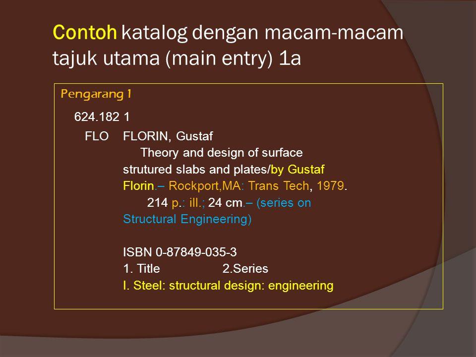 Contoh katalog dengan macam-macam tajuk utama (main entry) 1a