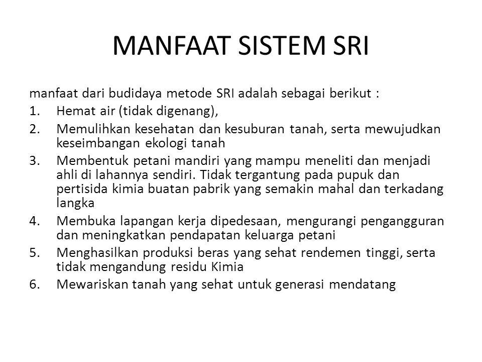 MANFAAT SISTEM SRI manfaat dari budidaya metode SRI adalah sebagai berikut : Hemat air (tidak digenang),