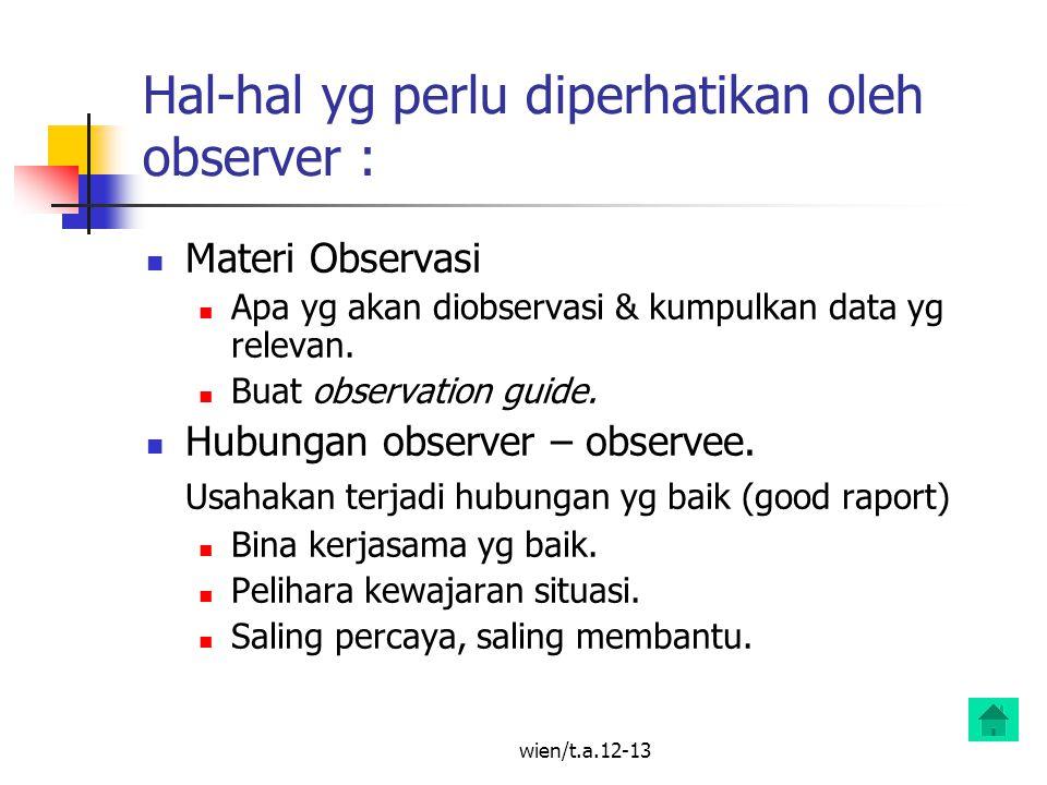Hal-hal yg perlu diperhatikan oleh observer :