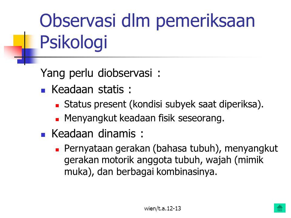 Observasi dlm pemeriksaan Psikologi