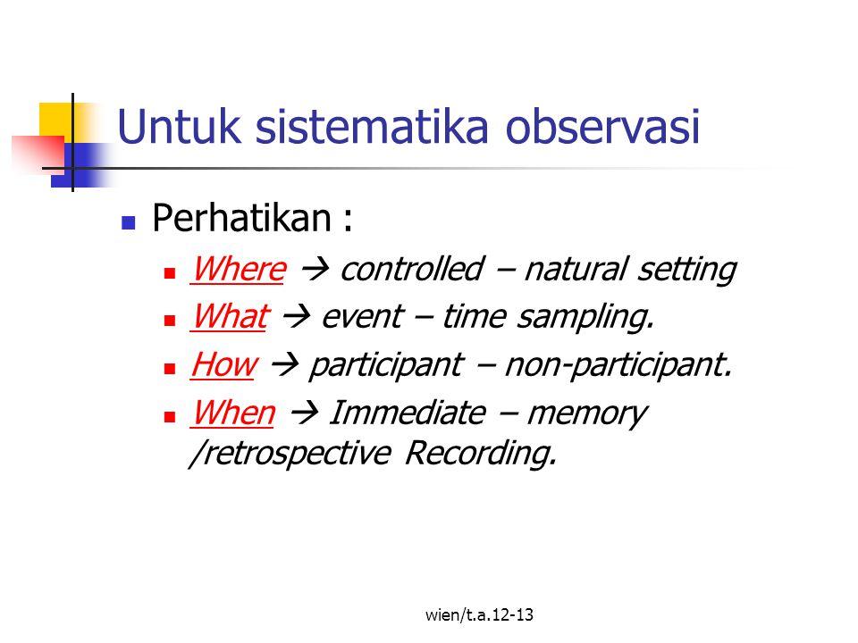 Untuk sistematika observasi