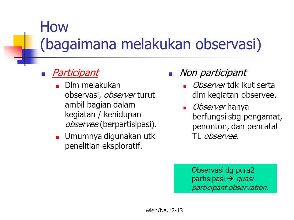 How (bagaimana melakukan observasi)