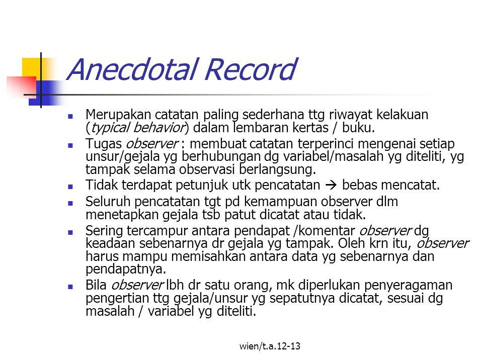 Anecdotal Record Merupakan catatan paling sederhana ttg riwayat kelakuan (typical behavior) dalam lembaran kertas / buku.