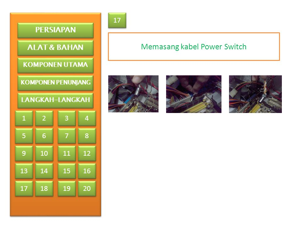 Memasang kabel Power Switch