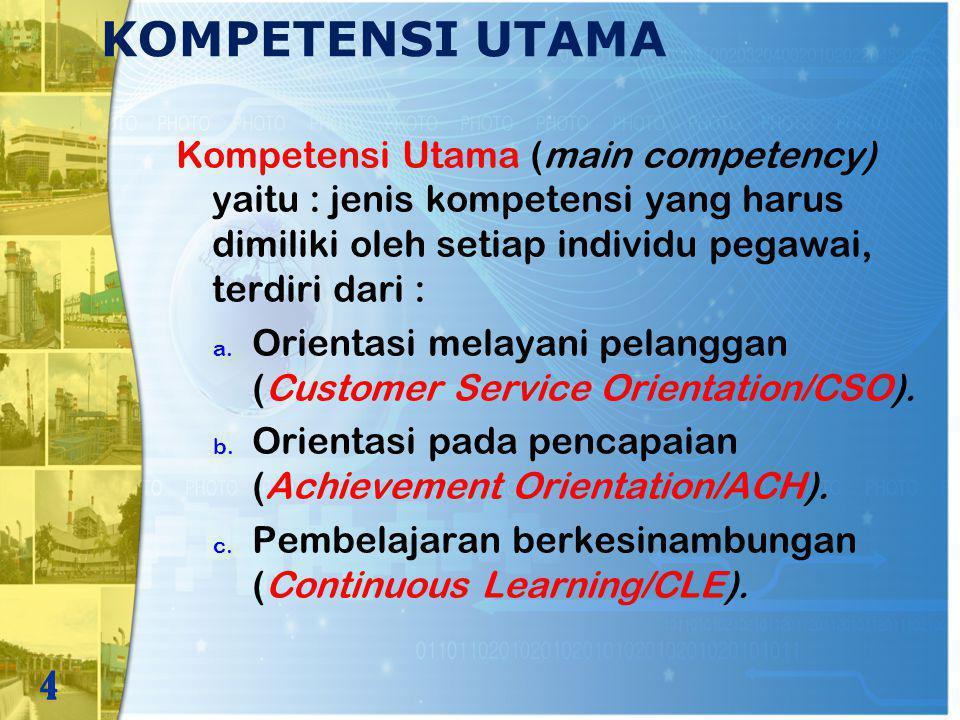 KOMPETENSI UTAMA Kompetensi Utama (main competency) yaitu : jenis kompetensi yang harus dimiliki oleh setiap individu pegawai, terdiri dari :