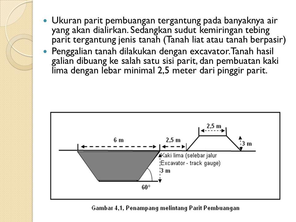 Ukuran parit pembuangan tergantung pada banyaknya air yang akan dialirkan. Sedangkan sudut kemiringan tebing parit tergantung jenis tanah (Tanah liat atau tanah berpasir)