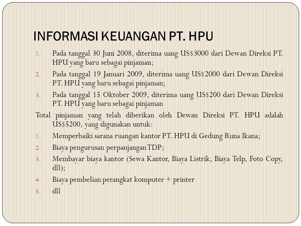 INFORMASI KEUANGAN PT. HPU