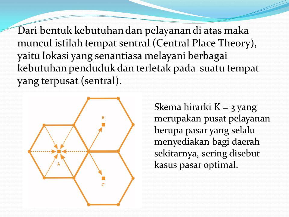 Dari bentuk kebutuhan dan pelayanan di atas maka muncul istilah tempat sentral (Central Place Theory), yaitu lokasi yang senantiasa melayani berbagai kebutuhan penduduk dan terletak pada suatu tempat yang terpusat (sentral).