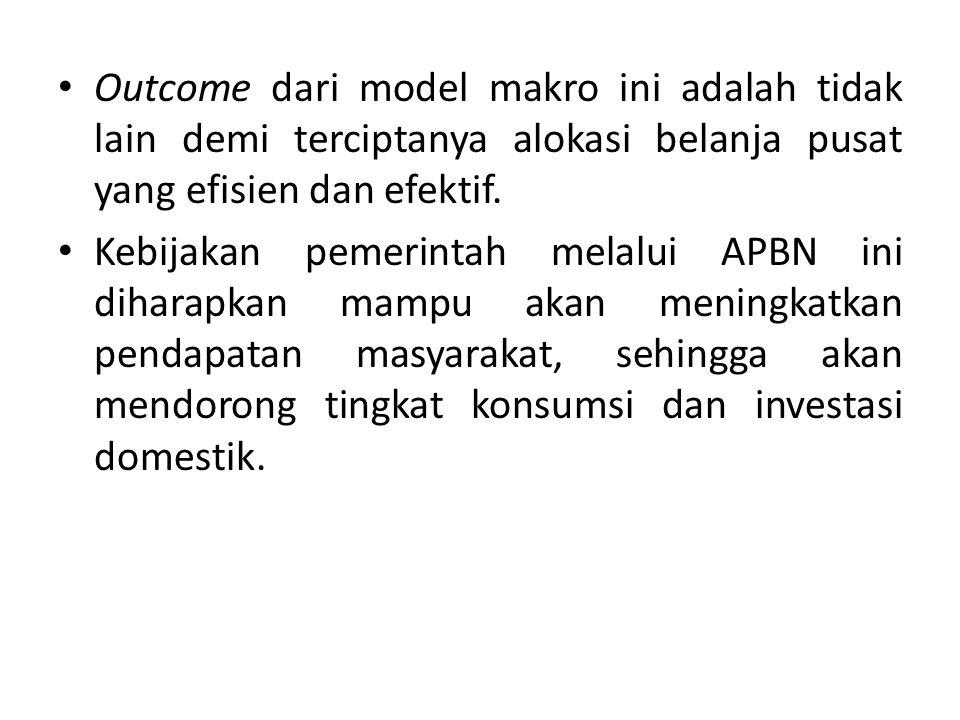 Outcome dari model makro ini adalah tidak lain demi terciptanya alokasi belanja pusat yang efisien dan efektif.
