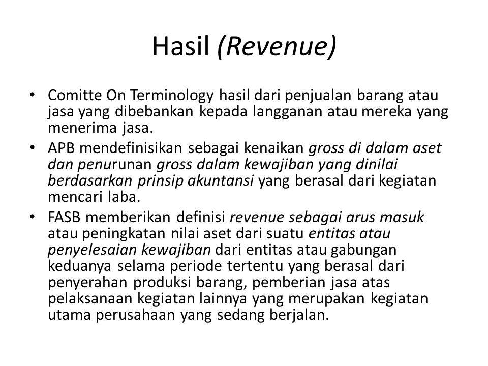 Hasil (Revenue) Comitte On Terminology hasil dari penjualan barang atau jasa yang dibebankan kepada langganan atau mereka yang menerima jasa.