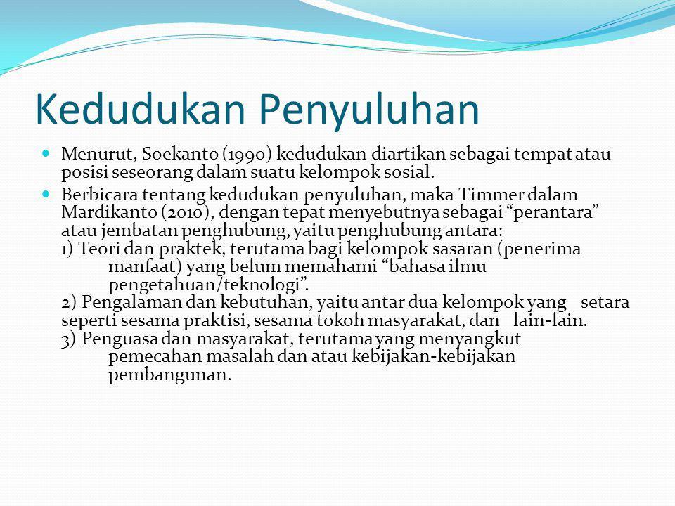 Kedudukan Penyuluhan Menurut, Soekanto (1990) kedudukan diartikan sebagai tempat atau posisi seseorang dalam suatu kelompok sosial.