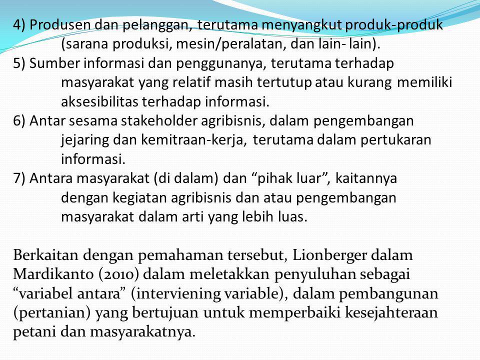 4) Produsen dan pelanggan, terutama menyangkut produk-. produk