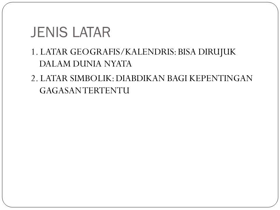 JENIS LATAR 1. LATAR GEOGRAFIS/KALENDRIS: BISA DIRUJUK DALAM DUNIA NYATA 2.