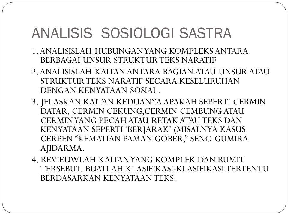 ANALISIS SOSIOLOGI SASTRA