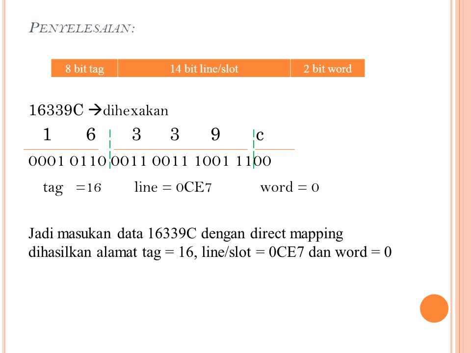 Penyelesaian : 8 bit tag. 14 bit line/slot. 2 bit word. 16339C dihexakan. 1 6 3 3 9 c.