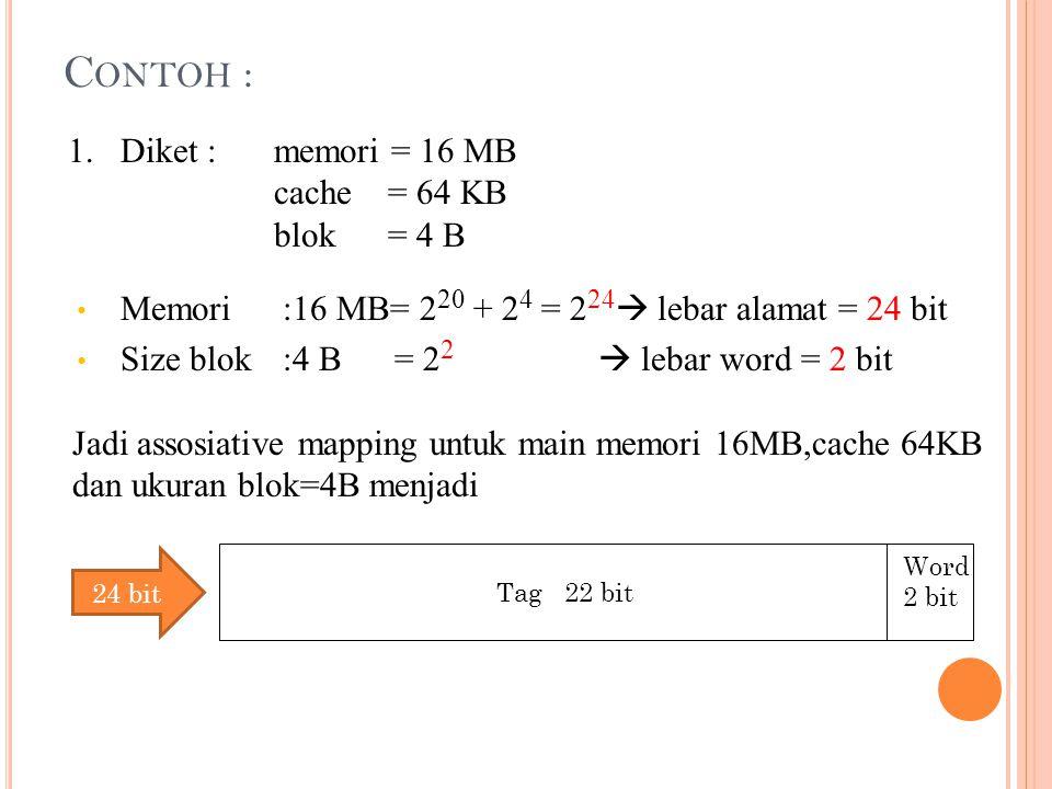 Contoh : 1. Diket : memori = 16 MB cache = 64 KB blok = 4 B