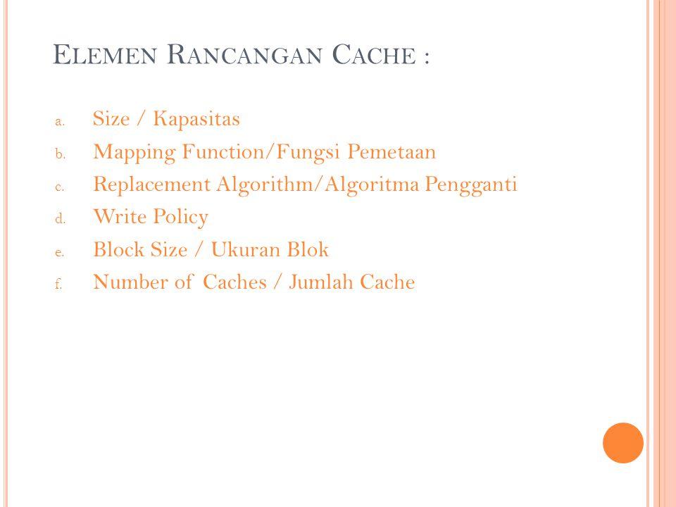 Elemen Rancangan Cache :