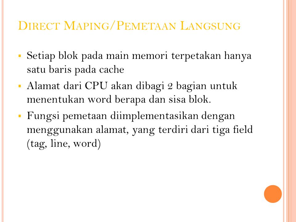 Direct Maping/Pemetaan Langsung
