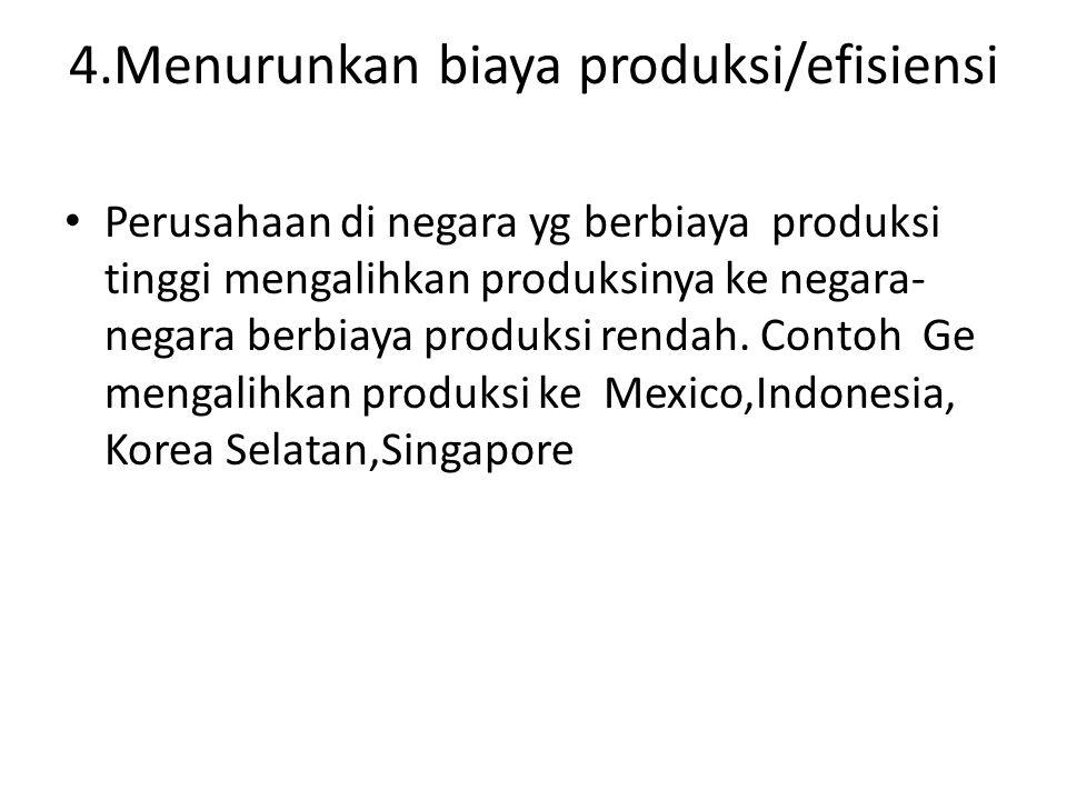 4.Menurunkan biaya produksi/efisiensi
