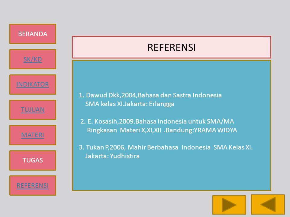 REFERENSI 1. Dawud Dkk,2004,Bahasa dan Sastra Indonesia