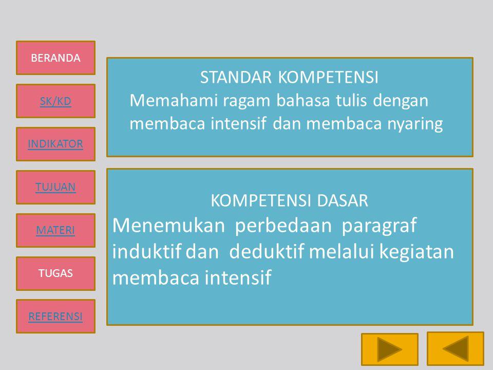 STANDAR KOMPETENSI Memahami ragam bahasa tulis dengan. membaca intensif dan membaca nyaring. KOMPETENSI DASAR.