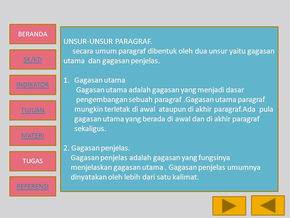 UNSUR-UNSUR PARAGRAF. secara umum paragraf dibentuk oleh dua unsur yaitu gagasan utama dan gagasan penjelas.