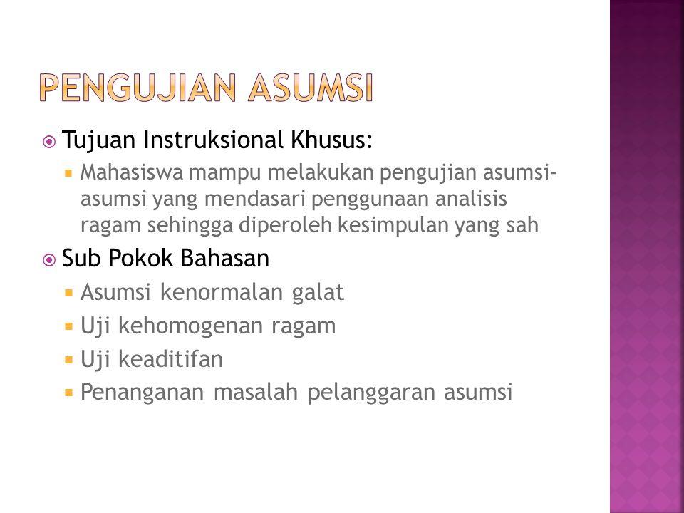 Pengujian Asumsi Tujuan Instruksional Khusus: Sub Pokok Bahasan