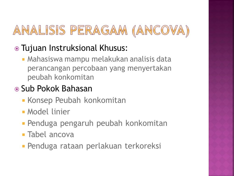Analisis Peragam (ANCOVA)