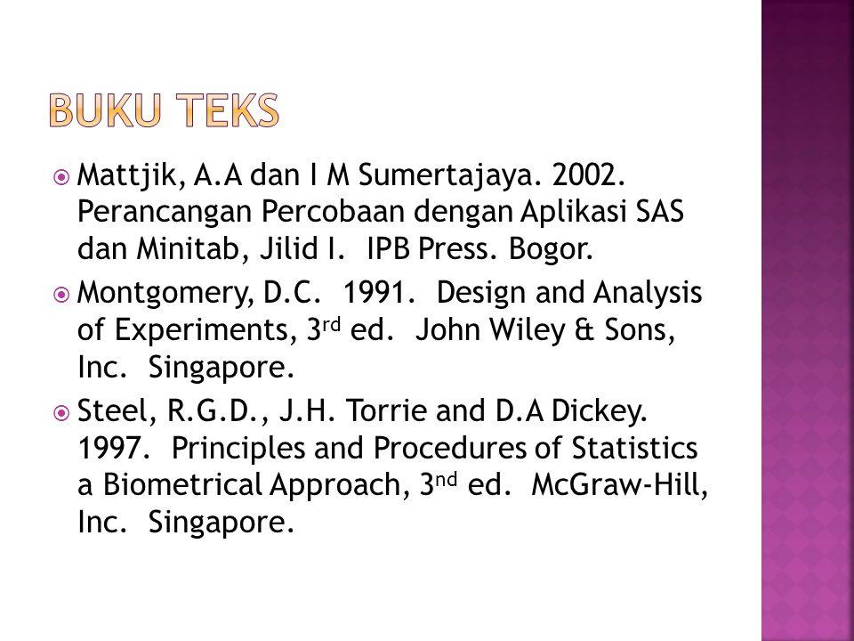 BUKU TEKS Mattjik, A.A dan I M Sumertajaya. 2002. Perancangan Percobaan dengan Aplikasi SAS dan Minitab, Jilid I. IPB Press. Bogor.