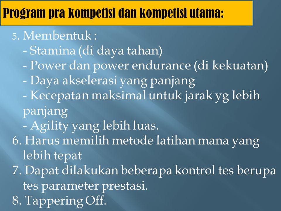 Program pra kompetisi dan kompetisi utama: