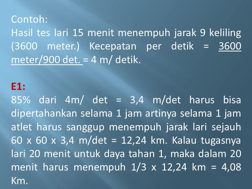 Contoh: Hasil tes lari 15 menit menempuh jarak 9 keliling (3600 meter.) Kecepatan per detik = 3600 meter/900 det. = 4 m/ detik.