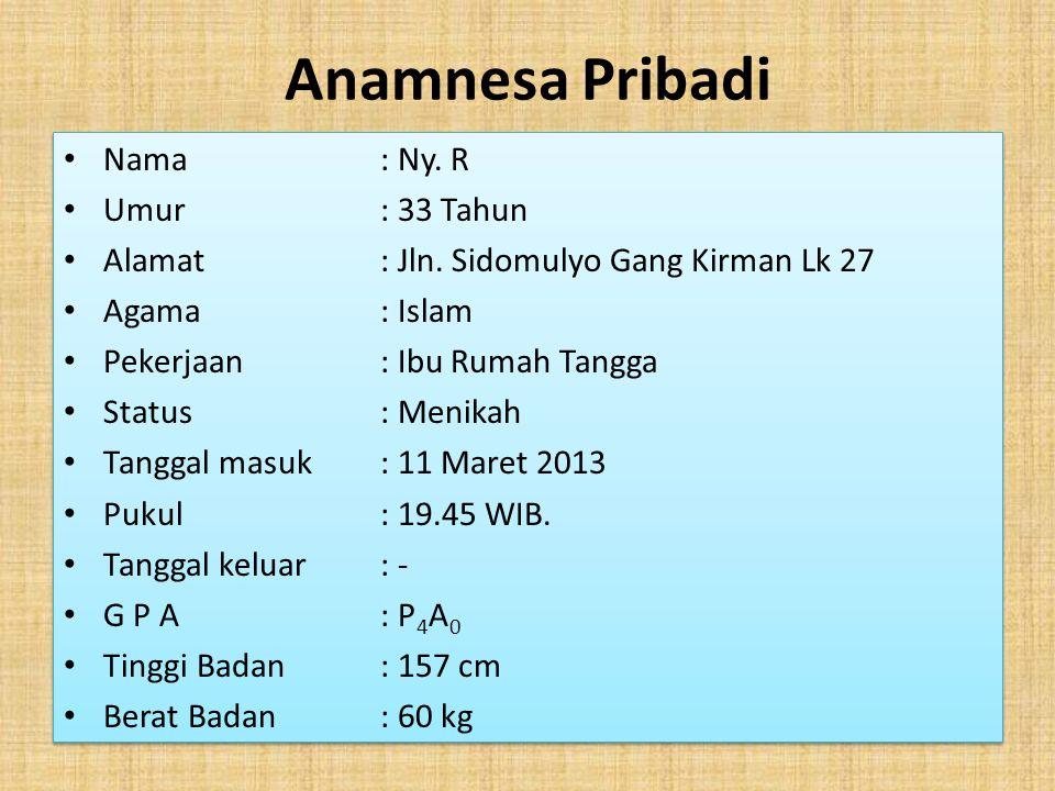 Anamnesa Pribadi Nama : Ny. R Umur : 33 Tahun