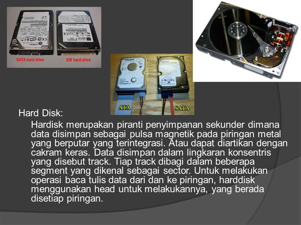 Hard Disk: Hardisk merupakan piranti penyimpanan sekunder dimana data disimpan sebagai pulsa magnetik pada piringan metal yang berputar yang terintegrasi.