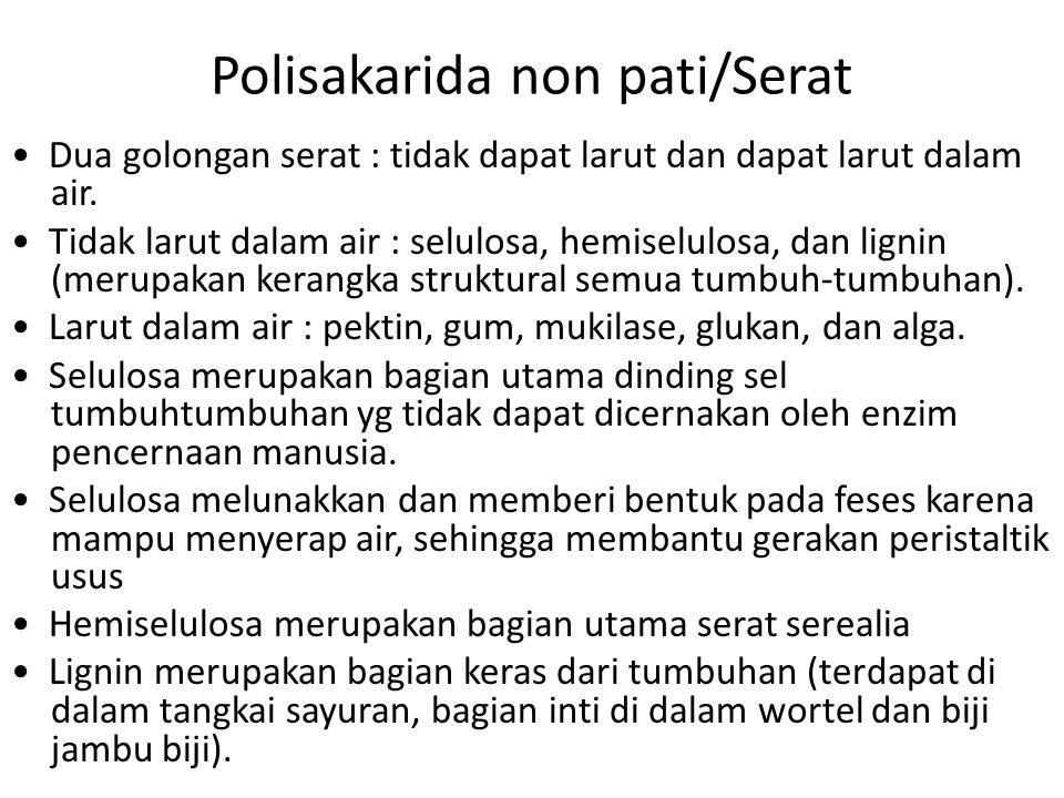 Polisakarida non pati/Serat