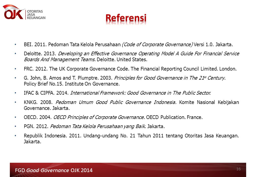 Referensi FGD Good Governance OJK 2014