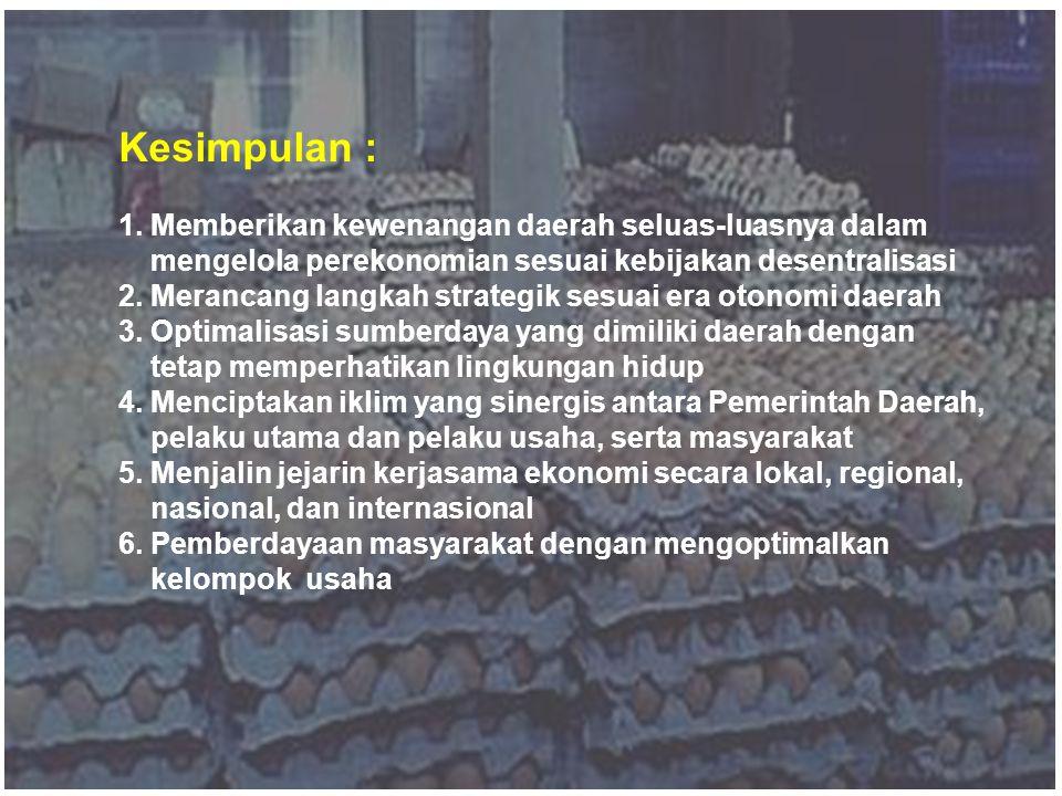 Kesimpulan : 1. Memberikan kewenangan daerah seluas-luasnya dalam mengelola perekonomian sesuai kebijakan desentralisasi.
