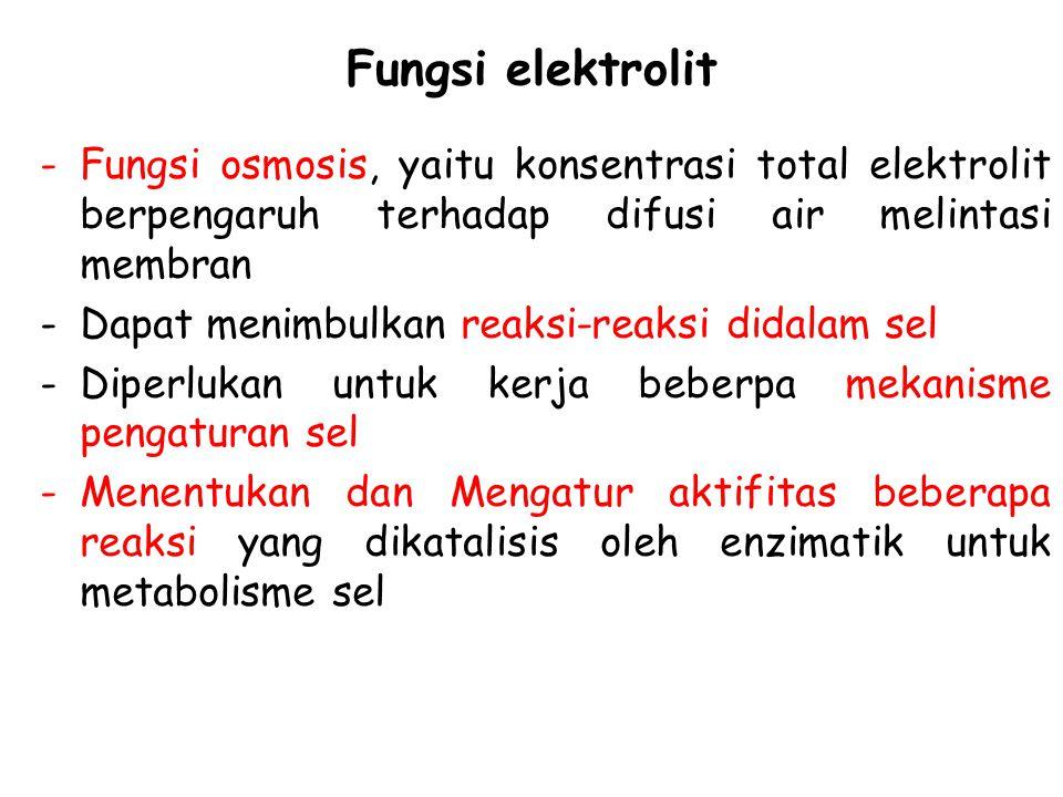 Fungsi elektrolit Fungsi osmosis, yaitu konsentrasi total elektrolit berpengaruh terhadap difusi air melintasi membran.
