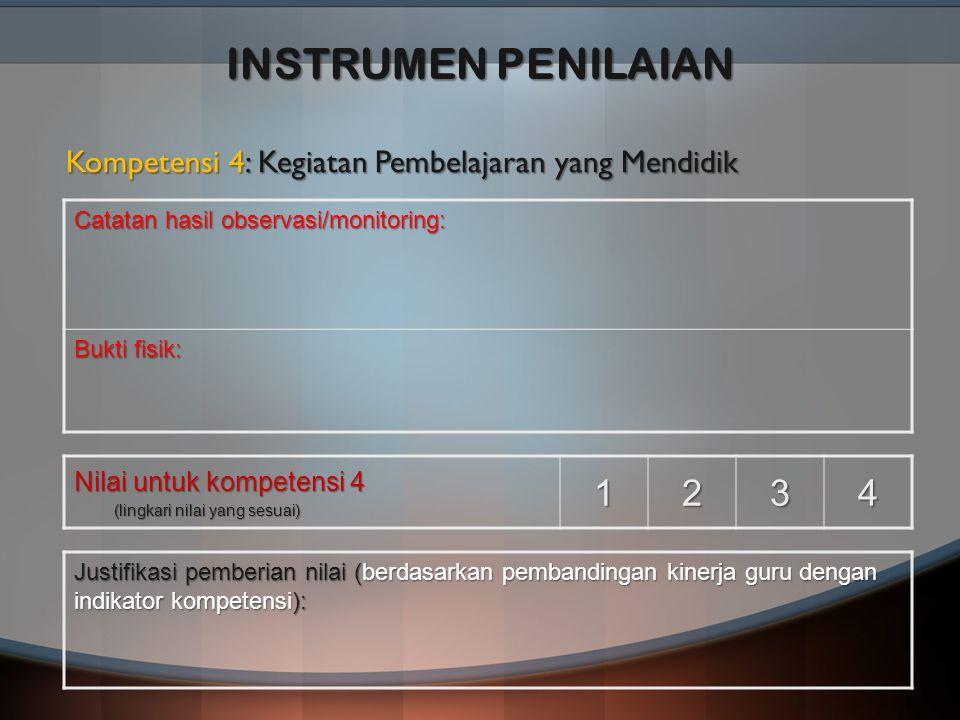 INSTRUMEN PENILAIAN Kompetensi 4: Kegiatan Pembelajaran yang Mendidik. Catatan hasil observasi/monitoring: