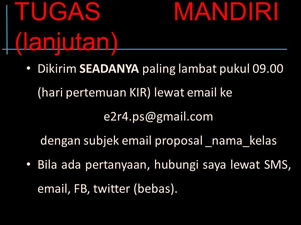 TUGAS MANDIRI (lanjutan)