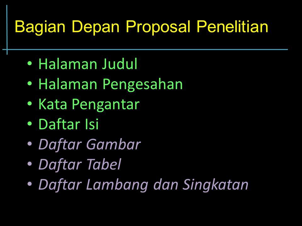 Bagian Depan Proposal Penelitian