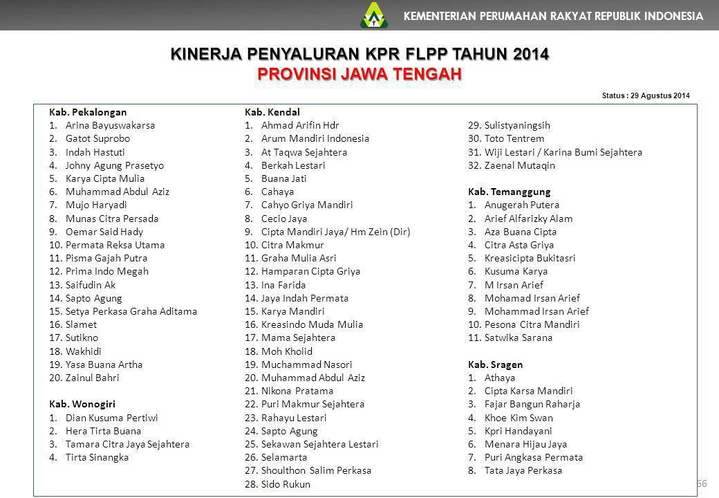 KINERJA PENYALURAN KPR FLPP TAHUN 2014
