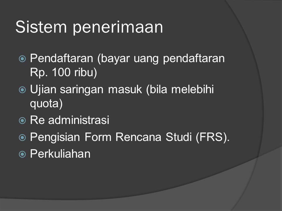 Sistem penerimaan Pendaftaran (bayar uang pendaftaran Rp. 100 ribu)