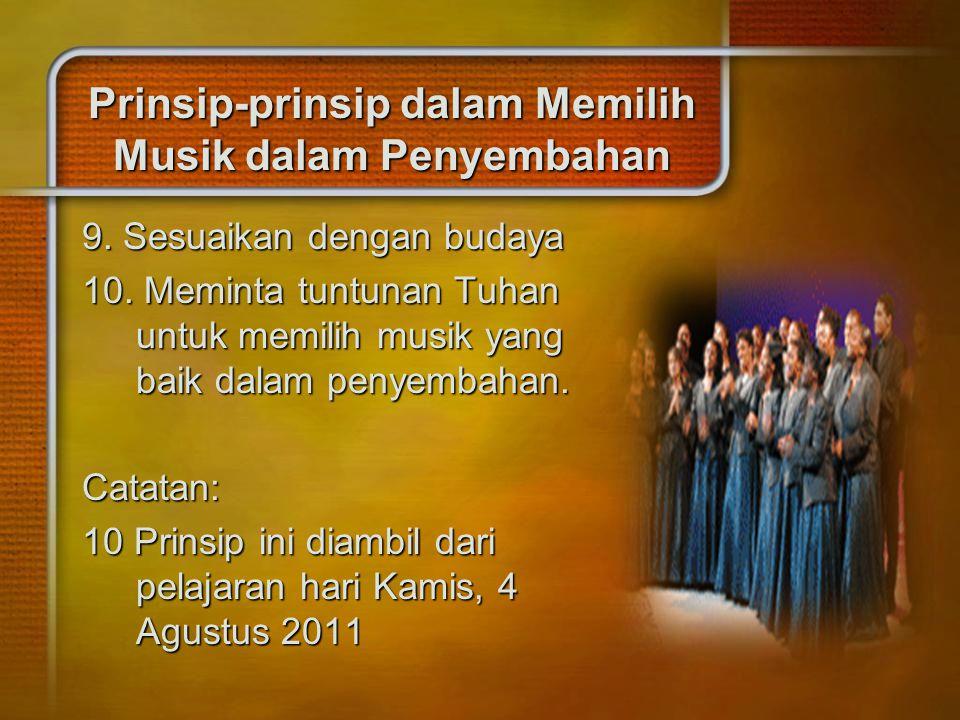 Prinsip-prinsip dalam Memilih Musik dalam Penyembahan