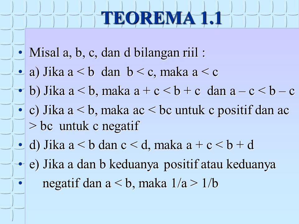 TEOREMA 1.1 Misal a, b, c, dan d bilangan riil :
