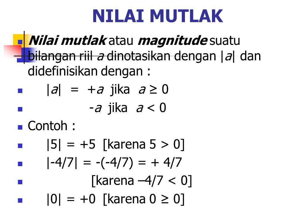 NILAI MUTLAK Nilai mutlak atau magnitude suatu bilangan riil a dinotasikan dengan |a| dan didefinisikan dengan :