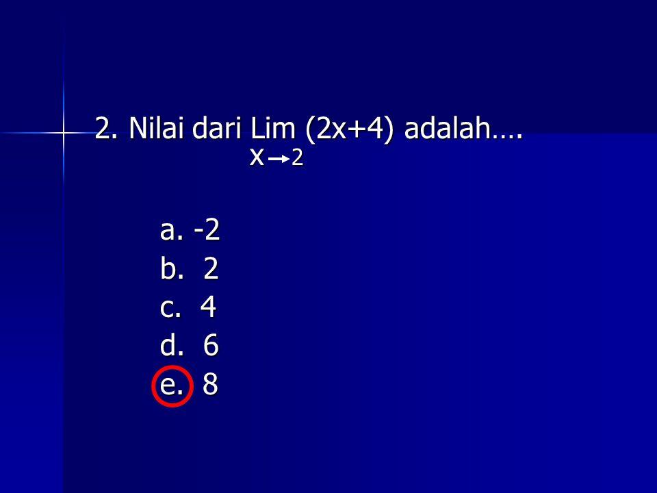 2. Nilai dari Lim (2x+4) adalah…. x 2
