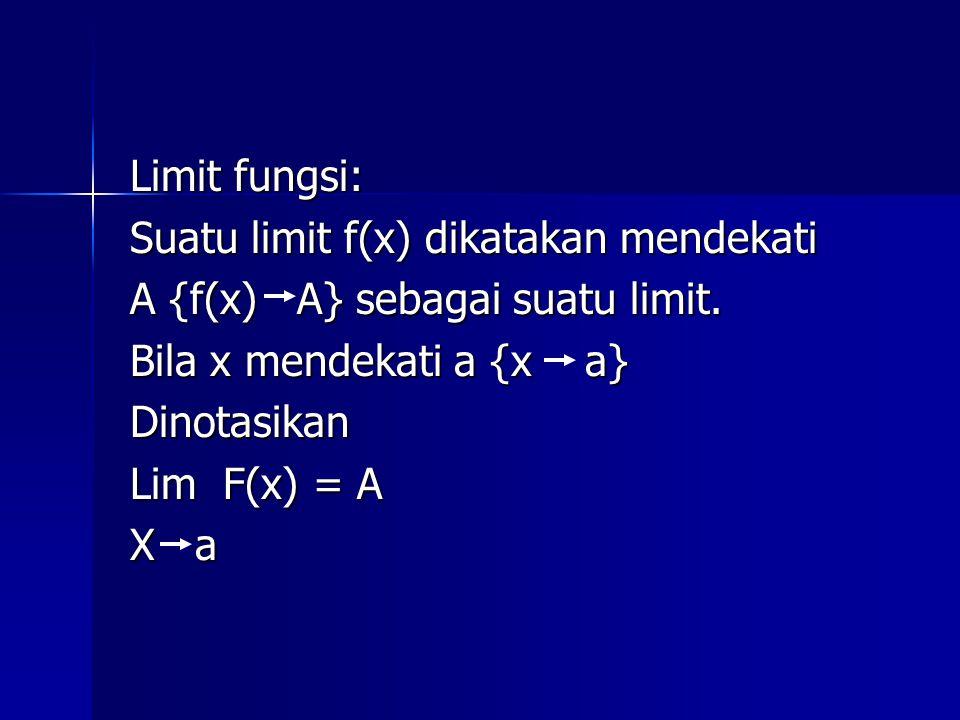 Limit fungsi: Suatu limit f(x) dikatakan mendekati. A {f(x) A} sebagai suatu limit. Bila x mendekati a {x a}