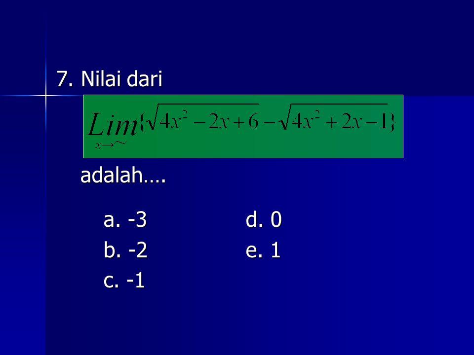 7. Nilai dari adalah…. a. -3 d. 0 b. -2 e. 1 c. -1