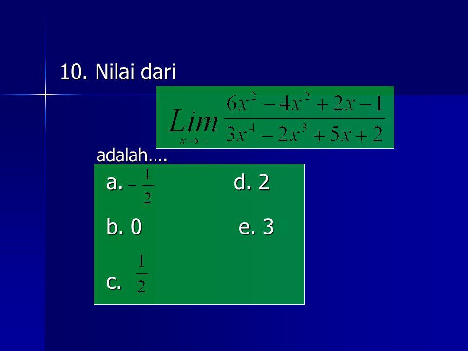 10. Nilai dari adalah…. a. d. 2 b. 0 e. 3 c.